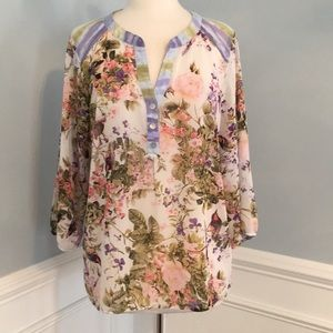 Fig and Flower Sheer Top- Large